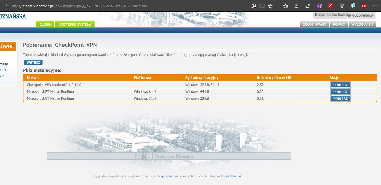 """Konfiguracja klienta VPN poprzez """"Check Point Capsule VPN"""" w"""